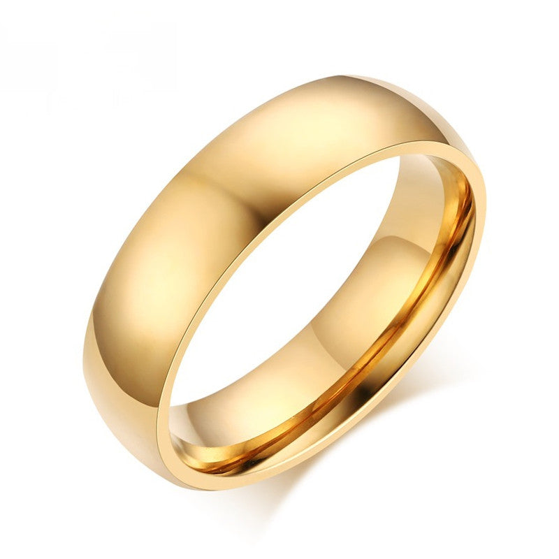 Fashion 18K gold-plated ring wedding rings for men women stainless steel couple jewelry