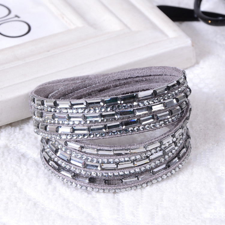 Fashion 6 Layer Wrap Bracelets Slake Leather Bracelets With Crystals Couple Jewelry