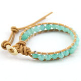 Fashion 6mm Agate Bead Wrap Bracelet for Women and Men Design Handmade Wrap Weave Leather Bracelet Lady Jewelry