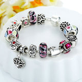 Fashion 925 Silver Crown Charm Bracelet with Heart Pendant & Murano Glass Beads Popular in Russia & Brazil
