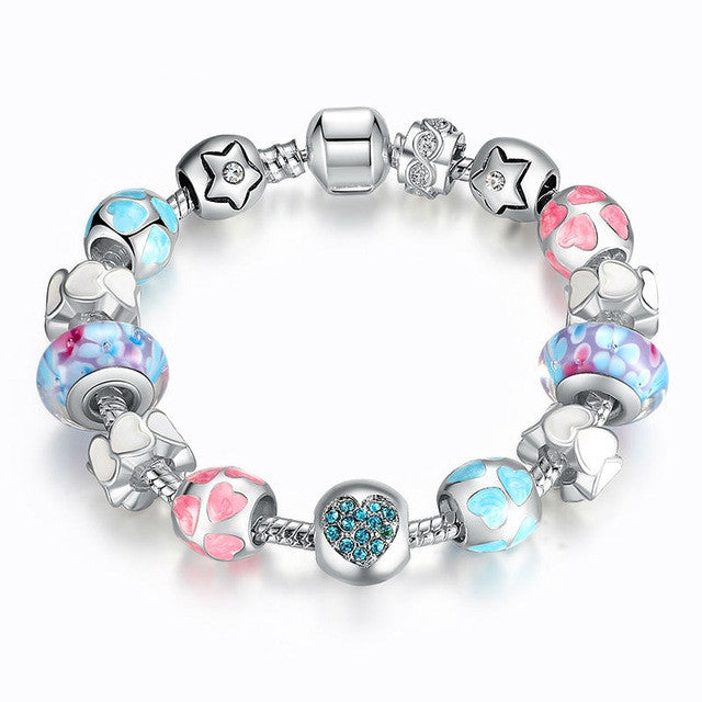 "Fashion 925 Silver Heart Start Crystals ""LOVE"" Colorful Girl Murano Beads Bracelet for New Year Gift"