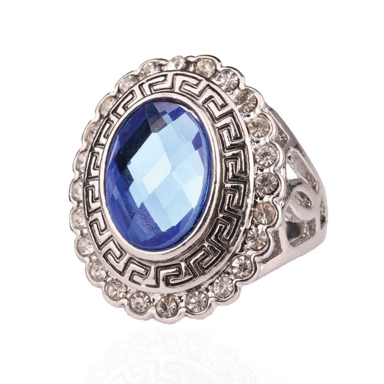 Fashion Accessories For Women Jewelry Kuniu Lots White Gold Ring Retro Rinig For Women With Crystalls Blue Stone Ring