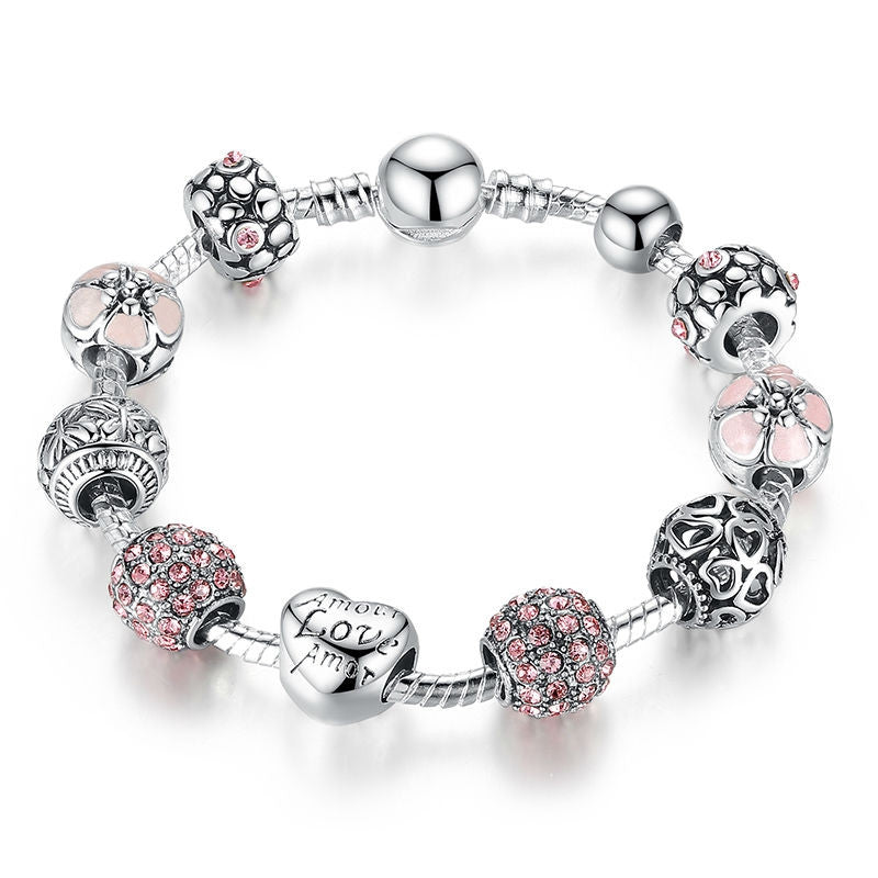 Fashion Antique 925 Silver Charm Bangle & Bracelet with Love and Flower Crystal Ball for Women Wedding