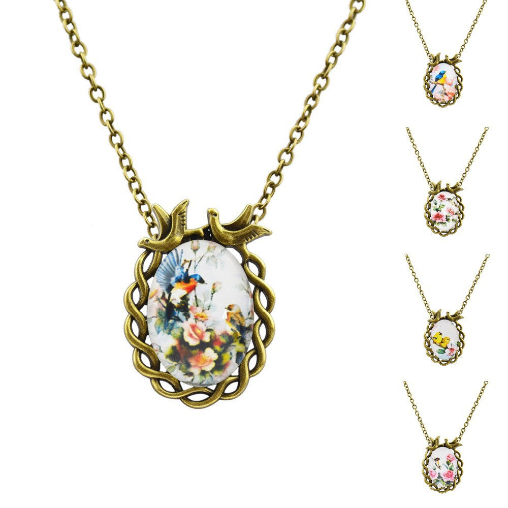 Fashion Art Picture Glass Cabochon Pendant Necklace Vintage Bronze Flower Statement Chain Necklace Summer Style Fine Jewelry