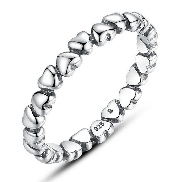 Fashion Authentic 925 100% Solid Sterling Silver Forever Love Heart Finger Ring Original Anniversary Jewelry