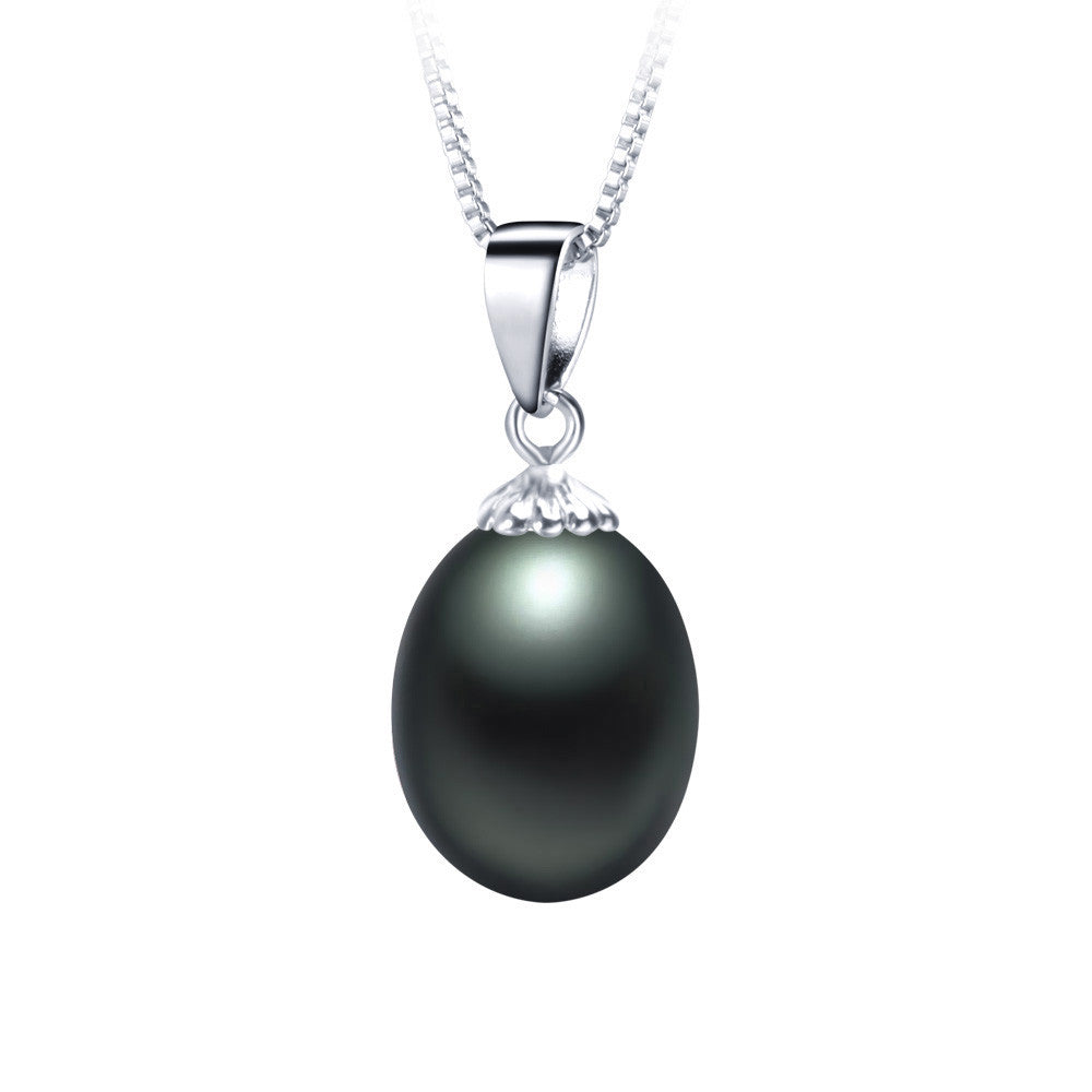 Fashion Black pearl necklace pendant Hot selling 925 sterling silver jewelry for women 9-10mm