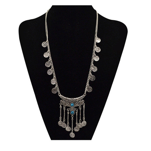Fashion Bohemian Tassels Long Necklace choker Statement Gypsy Ethnic Tribal Turkish Coin Pendant Chain Gem Maxi Necklaces