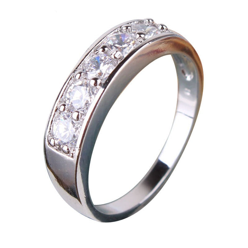 Fashion Box Ring for Women 18K White Gold Plated Wedding Ring Round Crystal CZ Zirconia Band Engagement Ring