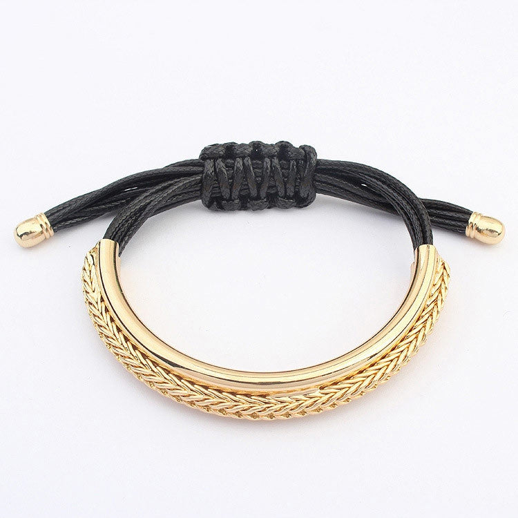 Fashion Brand Designer Gold Plated Alloy Leather Bracelets Luxury Handmade Rope Chain Charm Trendy Bracelets For Women