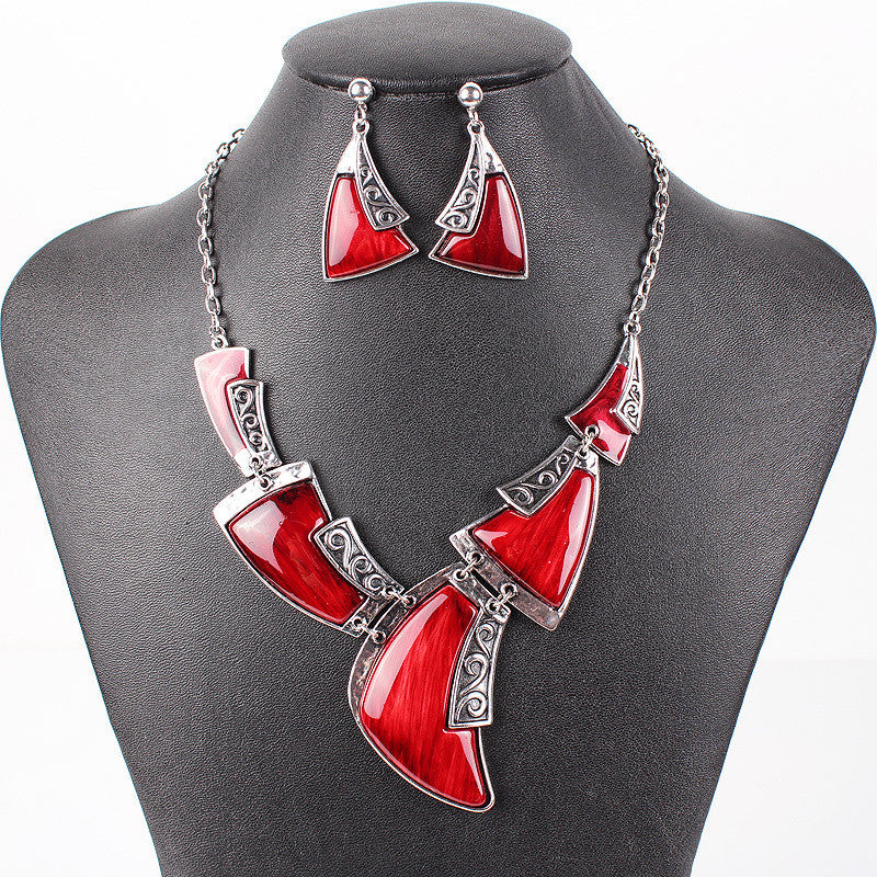 Fashion Brand Jewelry Sets Antique Silver Plated Red Necklace Set Bridal Jewelry High Quality Party Gifts New Arrival