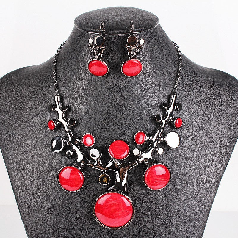 Fashion Brand Jewelry Sets Gunmetal/Silver/Gold Plated Bridal Necklace Set Coral Design High Quality New Arrival