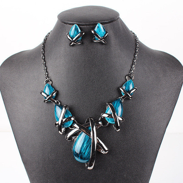 Fashion Brand Jewelry Sets Gunmetal Plated 4 Colors Blue Necklace Set Bridal Jewelry High Quality Party Gifts