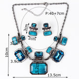 Fashion Brand Jewelry Sets Gunmetal Plated 6Colors Woman's Necklace Set Bridal Jewelry High Quality Party Gifts