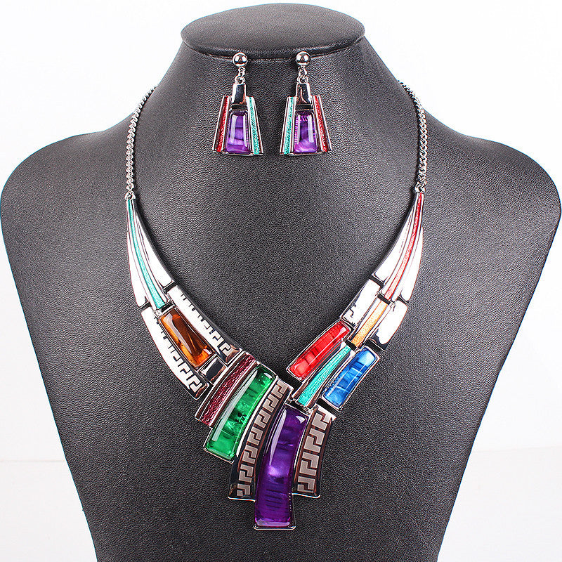 Fashion Brand Jewelry Sets Silver Plated Leaser Pattern 5 Colors New Bridal Jewelry High Quality Party Gifts