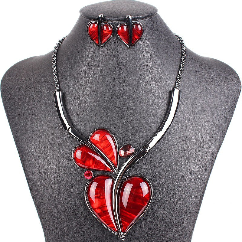 Fashion Brand Jewelry Sets Wedding Necklace Earring Set Hight Quality Heart Design Bridal Jewelry New Party Gifts