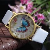 Fashion Butterfly Leather Band Clock Analog Quartz Watch Wrist Watch Women Watches