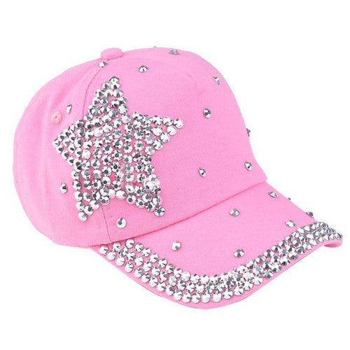 Fashion Children Kids Baseball Cap Rhinestone Star Shaped Boy Girls Snapback Hat Summer