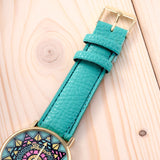 Fashion Clock Geneva Dress Watch Women Sunflower Style Leather Strap Relogio Feminino Fantastic Gift Reloj Graffiti Watch