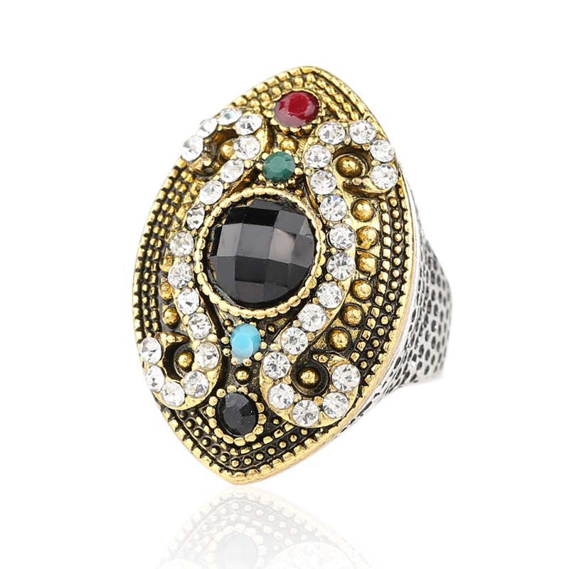 Fashion Colour Makeup Vintage Ring For Women Silver Plated Mosaic Crystal Horse Eye Turkish Jewelry