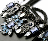 Fashion Costume Jewelry Vintage Silver Black Fabric Rope Chain Crystal Statement Choker Necklace Women Dangle Pendants