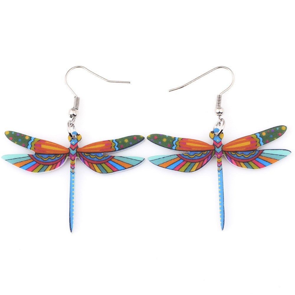 Fashion Dangle Dragonfly Earrings Acrylic Long Drop Earring New Arrival Spring Summer Style For Girls Women Jewelry