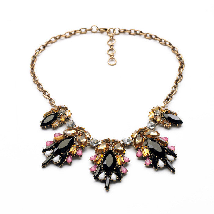 Fashion Design New Arrival Resin Zinc Alloy 18k Gold Collar Marquise Insect Imitation Necklace