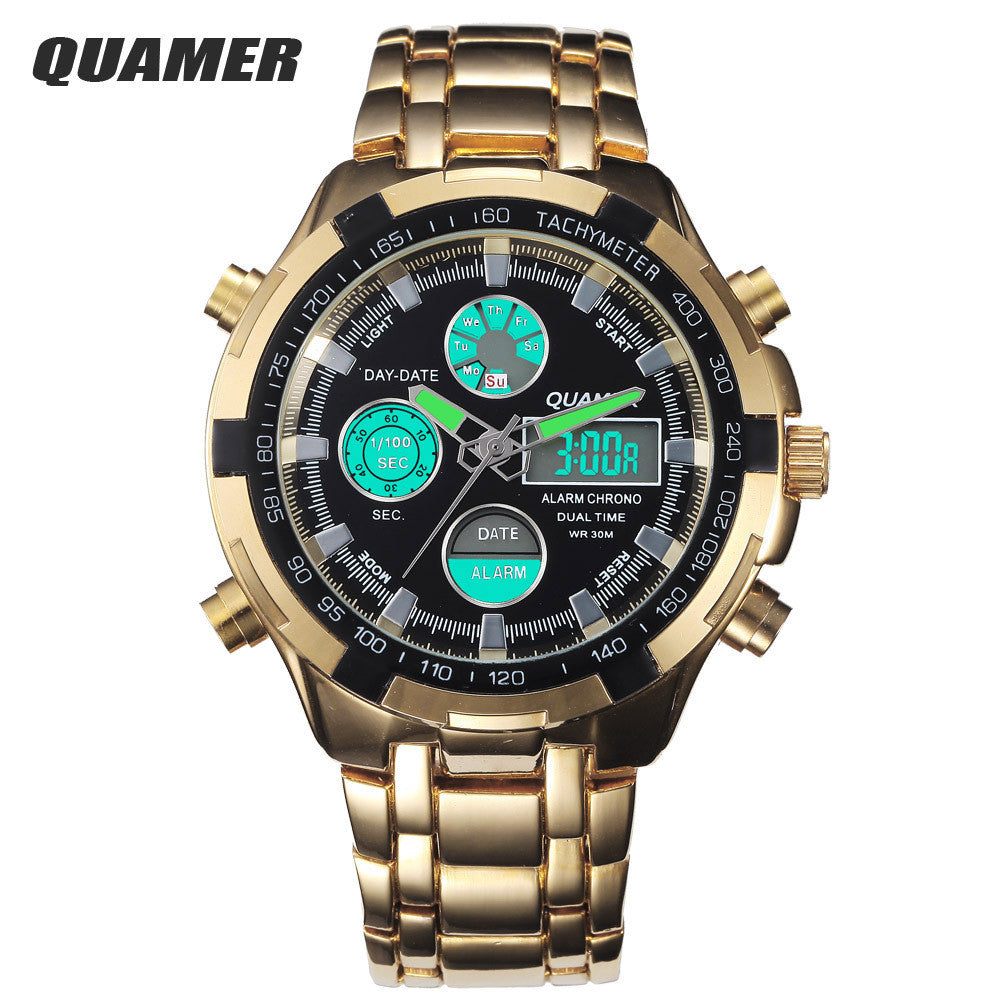Fashion Digital Watches Men Led Full Steel Gold Male Clock Men Military Wristwatch Quartz Sports Watch Relogio Masculino