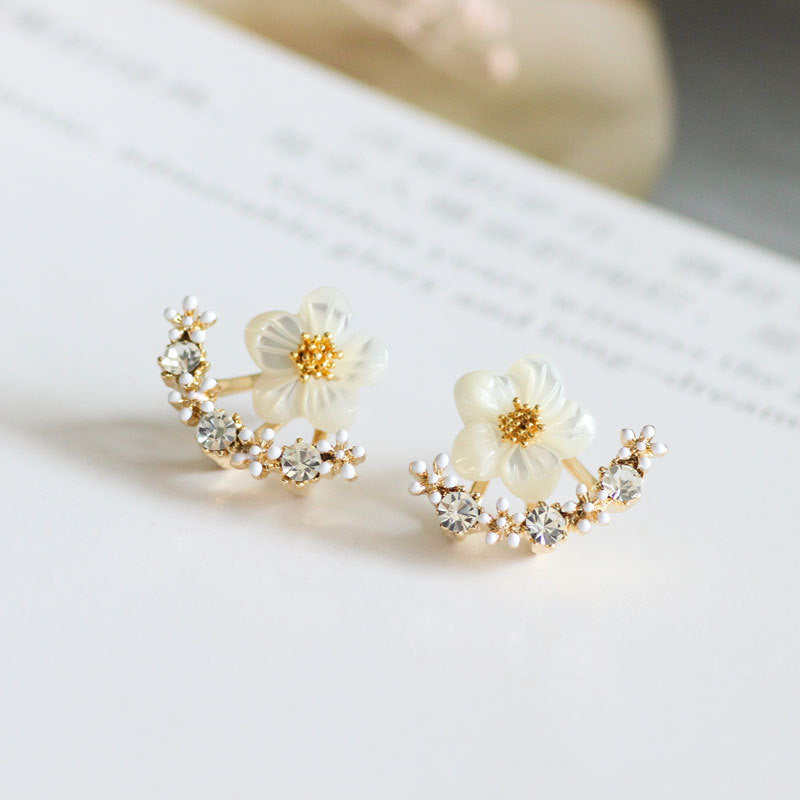 Fashion Earing Big Crystal White Gold Silver Jewelry High Quality Flower Ear Clips Stud Earrings For Women