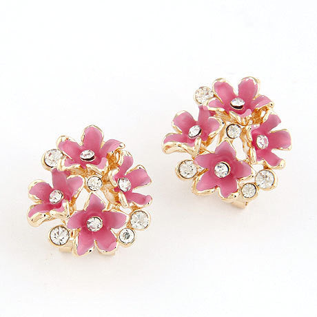 Fashion Earrings for Women Rhinestone Crystal Boucle d'oreille Enamel Flower Clip Earrings Bijoux ear pendientes brincos