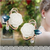 Fashion Elegant Charming Resine Rhinestone Crystal White Rose Stud Earring Party Wedding Gift Pressent