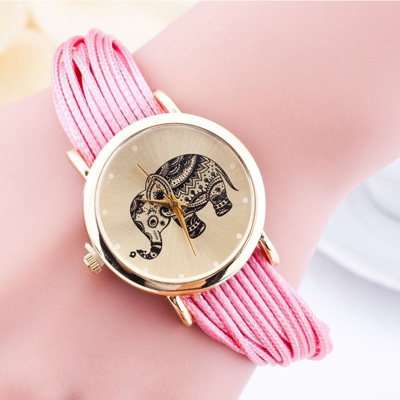 Fashion Elephant Bracelet Quartz Watch Women Wrist Watches Ladies Rope Chain Wristwatch quartz-watch Clock