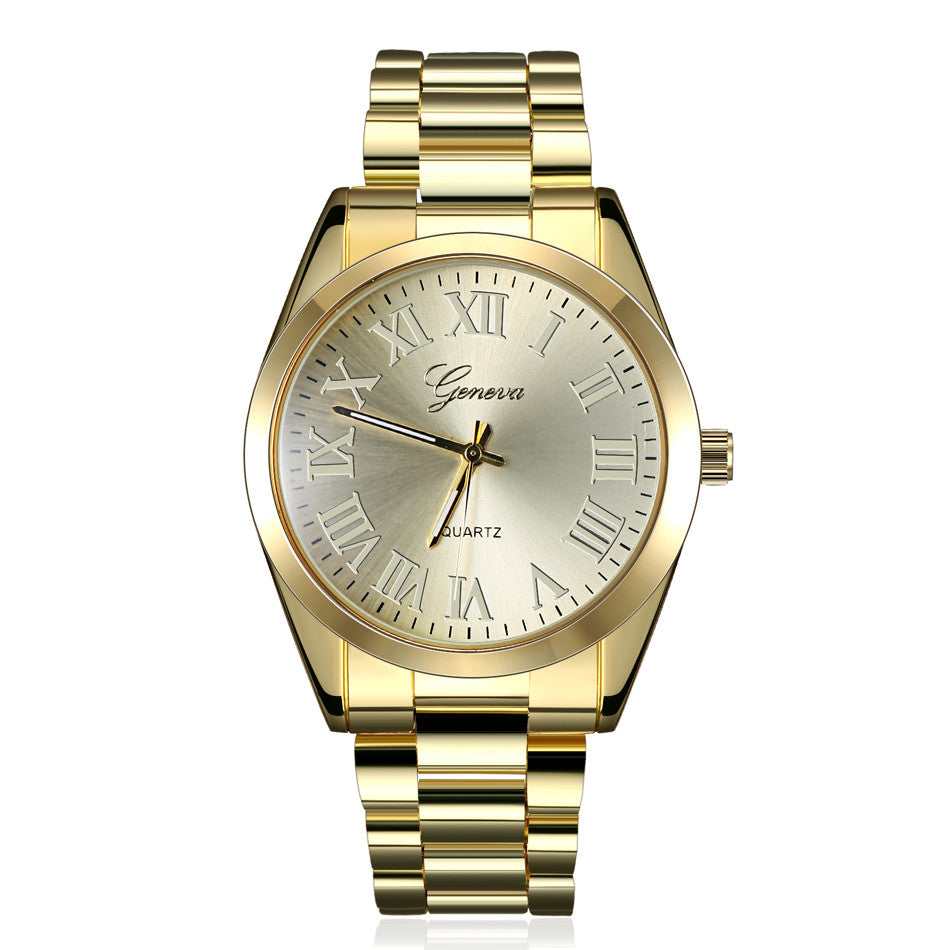 Fashion Steel Gold Watches Geneva Watch Wristwatches Women Dress Watch Men's Watches Quartz Gift