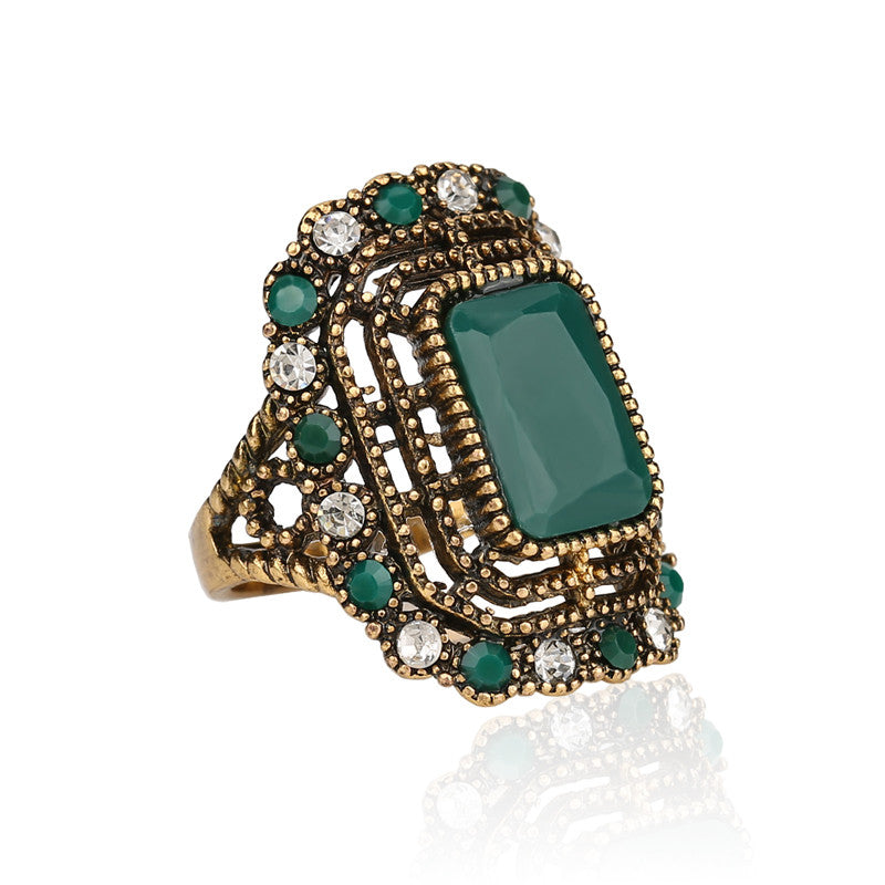 Fashion Green Ring Tibet Alloy Plating Gold Mosaic Resin Crystal Bijoux Femme Rings For Women