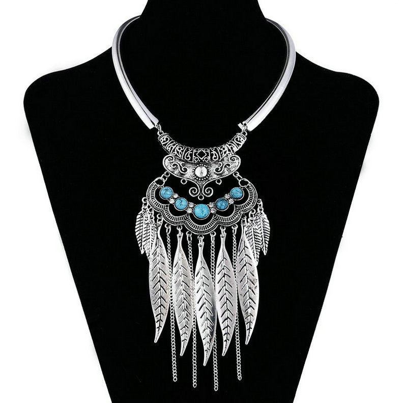Fashion Gypsy Colar Choker Bohemian Necklace Collier Femme Jewelry Leaf Tassel Maxi Statement Necklaces & Pendants Collares