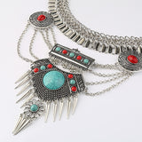Fashion Gypsy Vintage Choker Bohemian Necklace Big Gem Statement Necklaces & Pendants Collier Femme Collares Maxi Necklace