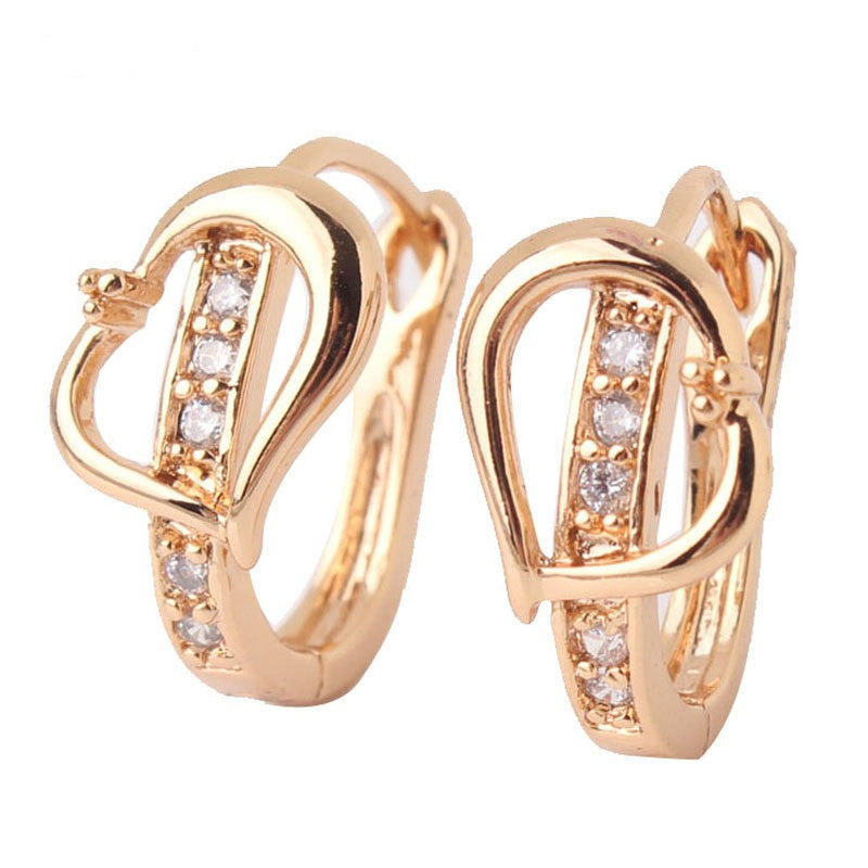 Fashion Heart Love Earrings for Women 18K Gold Plated White Stone Crystal CZ Zircon hoop Earrings Wedding Jewelry