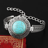 Fashion Hot Sales Vintage Jewelry Bracelelt Carved Tibetan Silver Round Turquoise Chain Bracelets Women pulsera Accessory