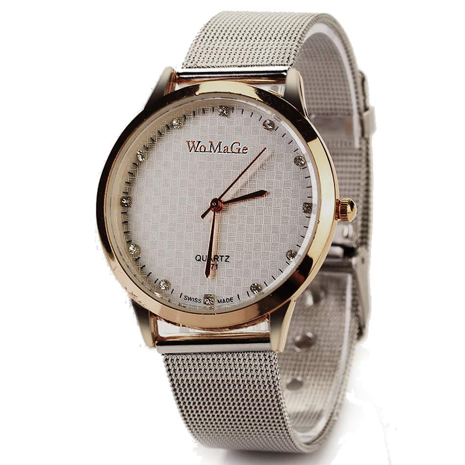 Fashion Hot Selling Stainless Steel Casual Silver Wristwatch Dress Watches Women Men Electronics Famous Brand Watch
