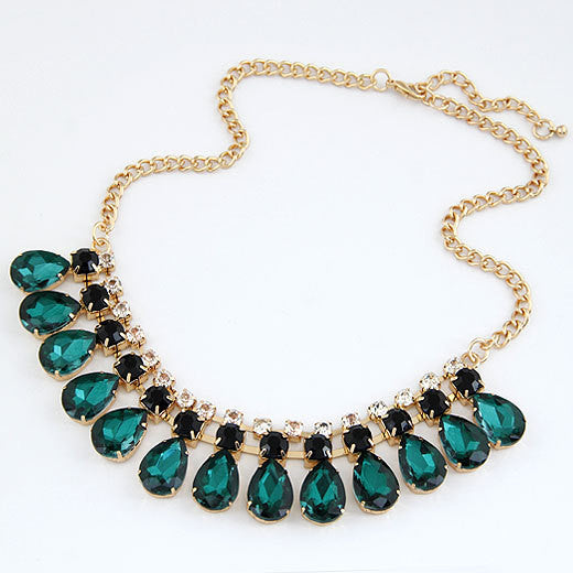 Fashion Imitated Gemstone Jewelry Drop Maxi Collar Statement Necklaces Pendants Choker Collier for Women