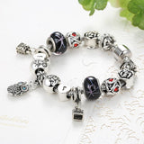 Fashion Jewelry Enamel Silver Bracelet European Murano Glass Beads Crystal Heart Charm Bracelet Bangle for Women