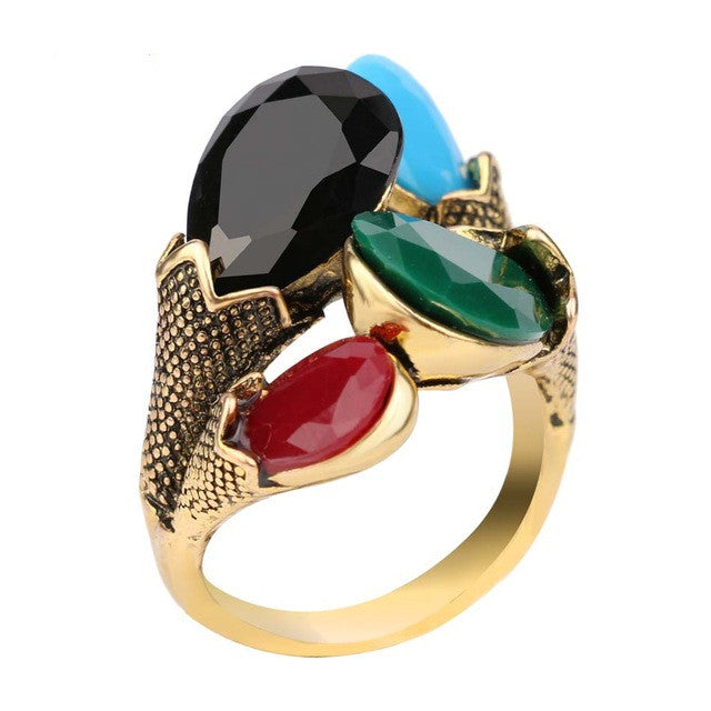 Fashion Jewelry For Women Charm Red Green Four Color Turquoise 18K Gold Plating Vintage Rings