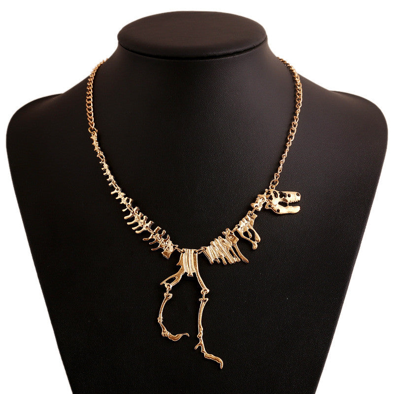 Fashion Jewelry Gothic Tyrannosaurus Rex Skeleton Dinosaur Pendant Necklace Gold Silver Chain Choker Necklace For Women