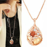 Fashion Long Necklace for Woman Fashion Gold Crystal Statement Colares Femininos Water Drop Collares