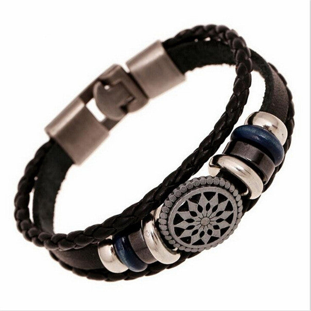 Fashion Jewelry Punk Vintage Braided Bracelets Bangles Men Women Handmade Leather Charm Bracelet
