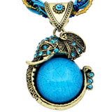 Fashion Jewelry Retro Craft Antique Bronze Plated Milet Chain Cute Crystal Lucite Elephant Pendant Necklace