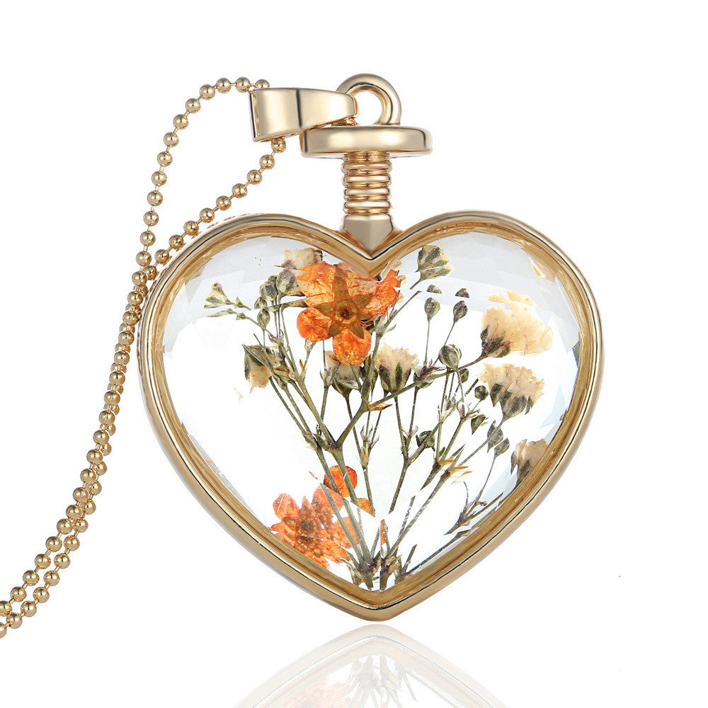Fashion Jewelry Romantic Crystal Glass Heart Shape Floating Locket Dried Flower Plant Pendant Chain Necklace for Women Girls