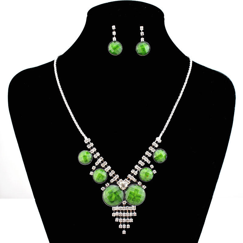 Fashion Jewelry Set Charm Necklace Clear Crystal Green Resin Beads Party Gift