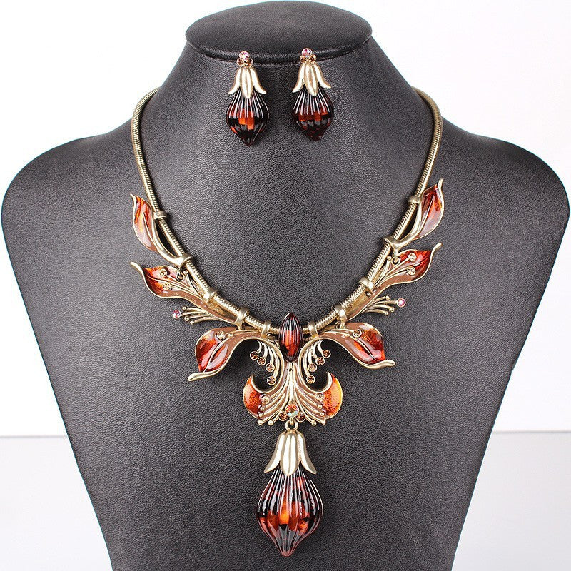 Fashion Jewelry Sets Antique GoldSilver Plated Flower Design RedBrown Color High Quality Party Gifts