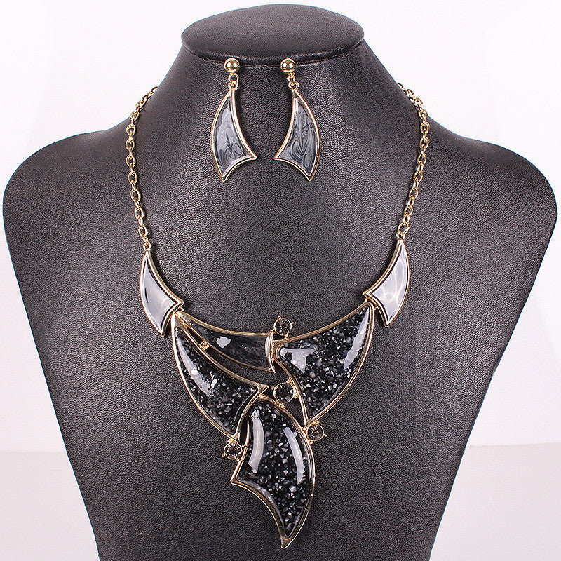 Fashion Jewelry Sets Gold Plated Black Necklace Woman's Necklace Earring Set New High Quality Party Gifts