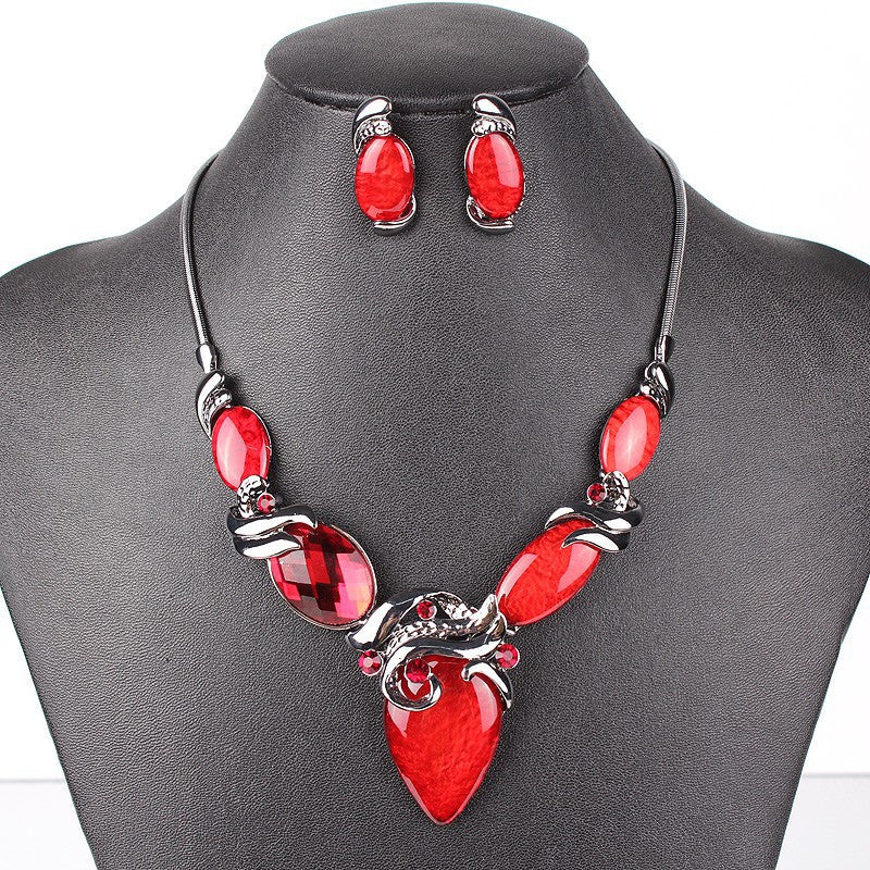 Fashion Jewelry Sets Gunmetal Plated Oval Design Red/Purple Color High Quality Party Gifts